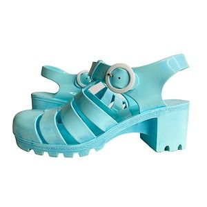 Vntg 80s Jelly Sandals Baby Blue Heeled T-Strap 6